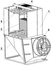 Ustroistvo gradirni s osevymi ventiliatorami